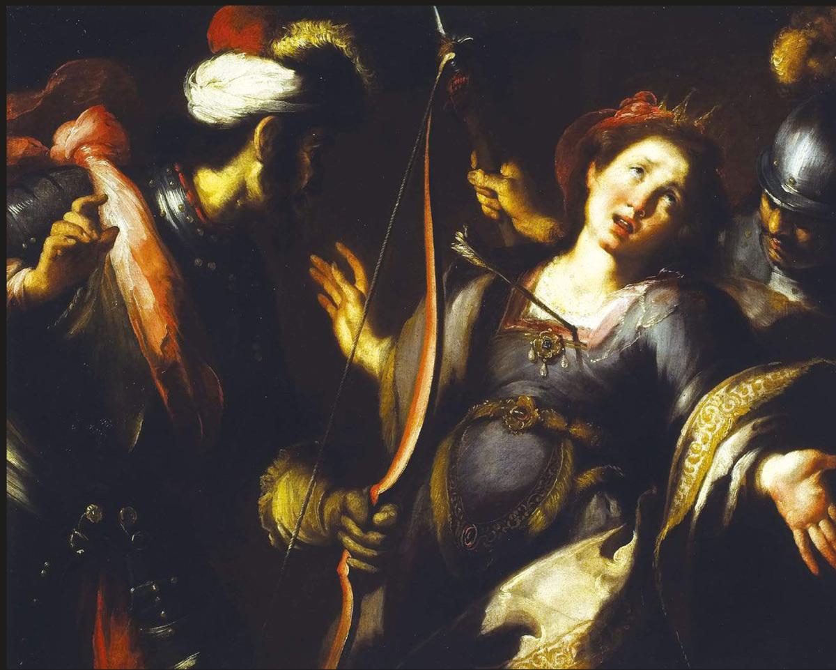 Bernardo Strozzi, Il martirio di sant'Orsola (1620-1625; olio su tela, 104 x 130 cm; Milano, Collezione Koelliker)