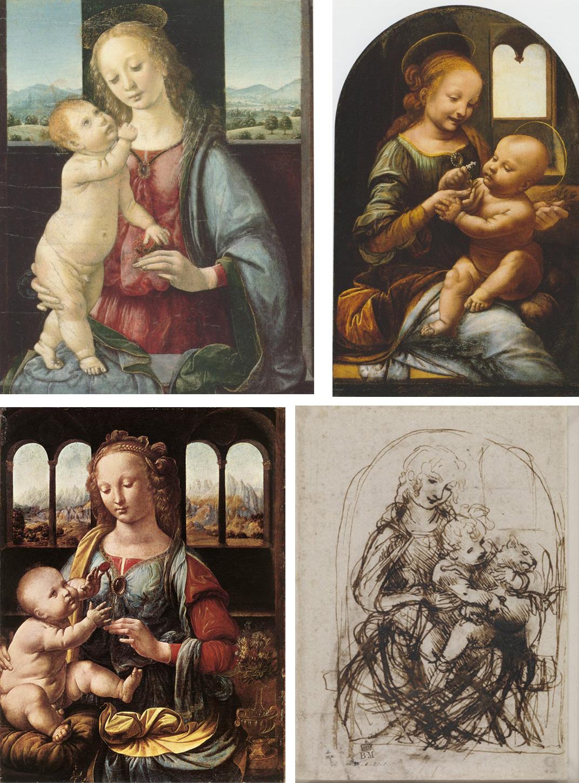 In senso orario da sinistra: Leonardo, Madonna Dreyfus (Washington, National Gallery), Madonna Benois (San Pietroburgo, Hermitage), Madonna con bambino e gatto (disegno a penna, British Museum), Madonna del garofano (Monaco di Baviera, Alte Pinakothek)