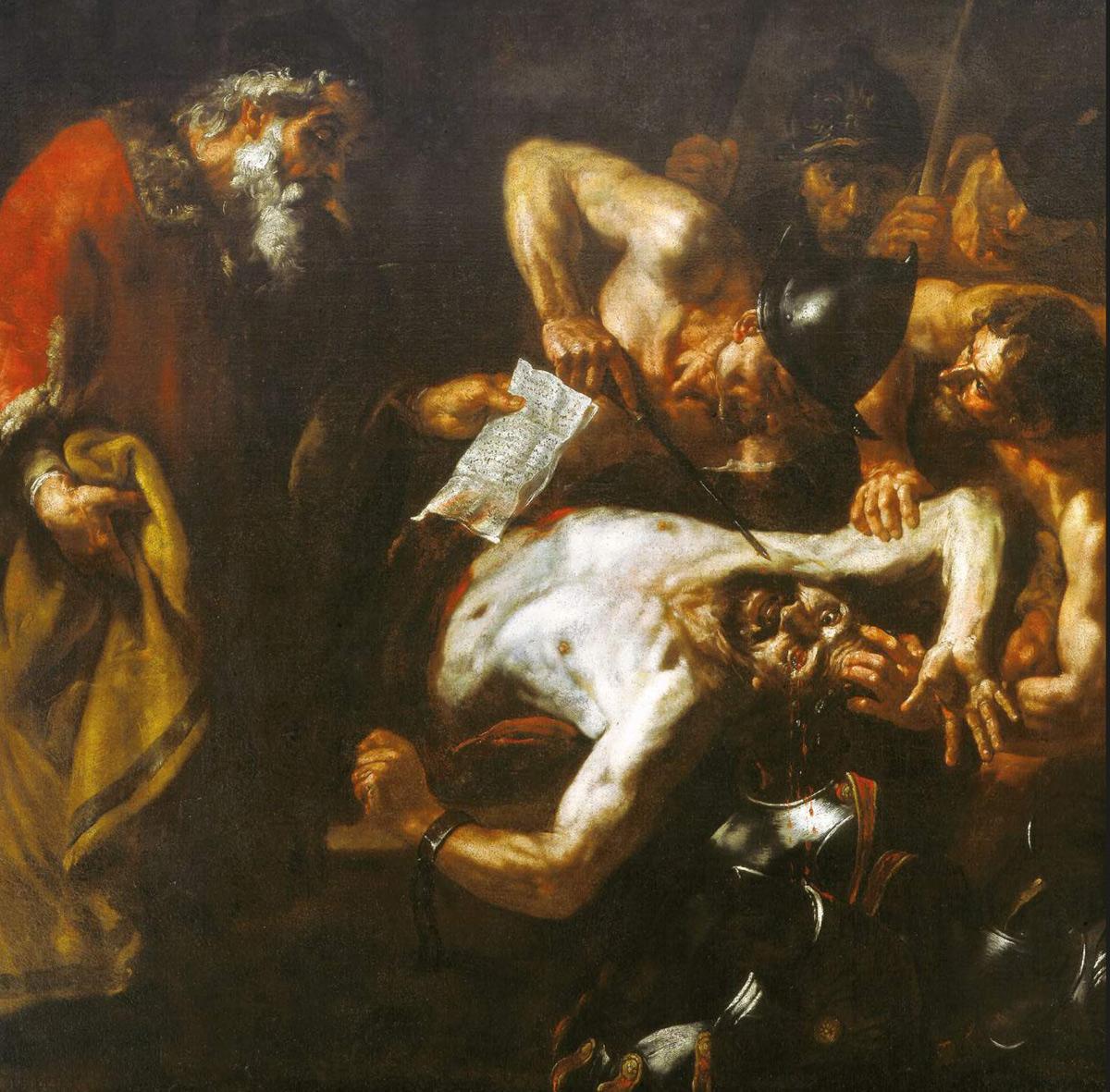 Orazio De Ferrari, La legge di Zaleuco (1640-1650 circa; olio su tela, 189 x 187 cm; Collezione privata)