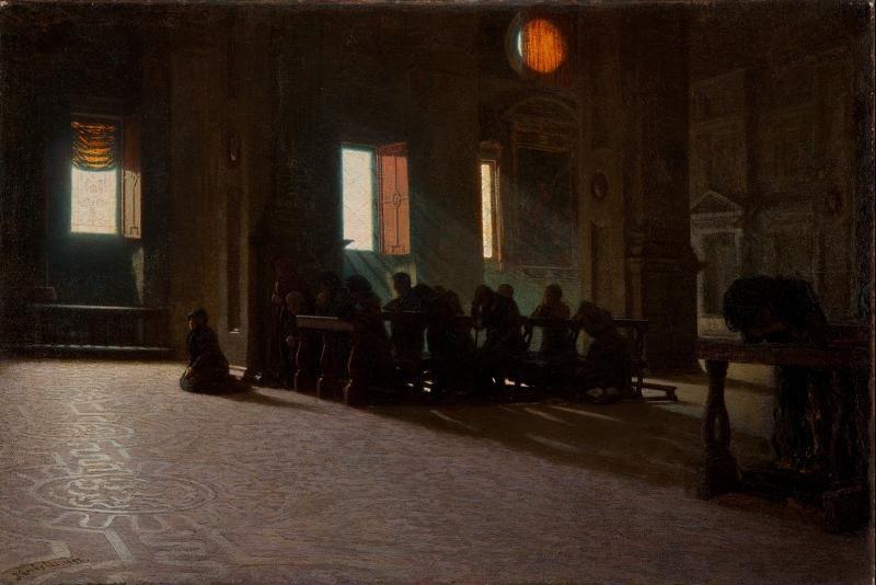 """Angelo Morbelli, Incensum domino! (1892-1893; olio su tela, 80,3 x 119,9 cm; Tortona, """"Il Divisionismo"""" Pinacoteca Fondazione C. R. Tortona)"""
