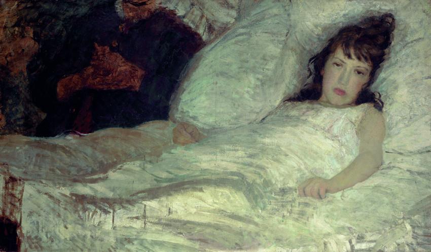 Angelo Morbelli, Pall Mall Gazette (Venduta!) (1887-1888; tempera su tela, 70 x 120 cm; Milano, Galleria d'Arte Moderna)