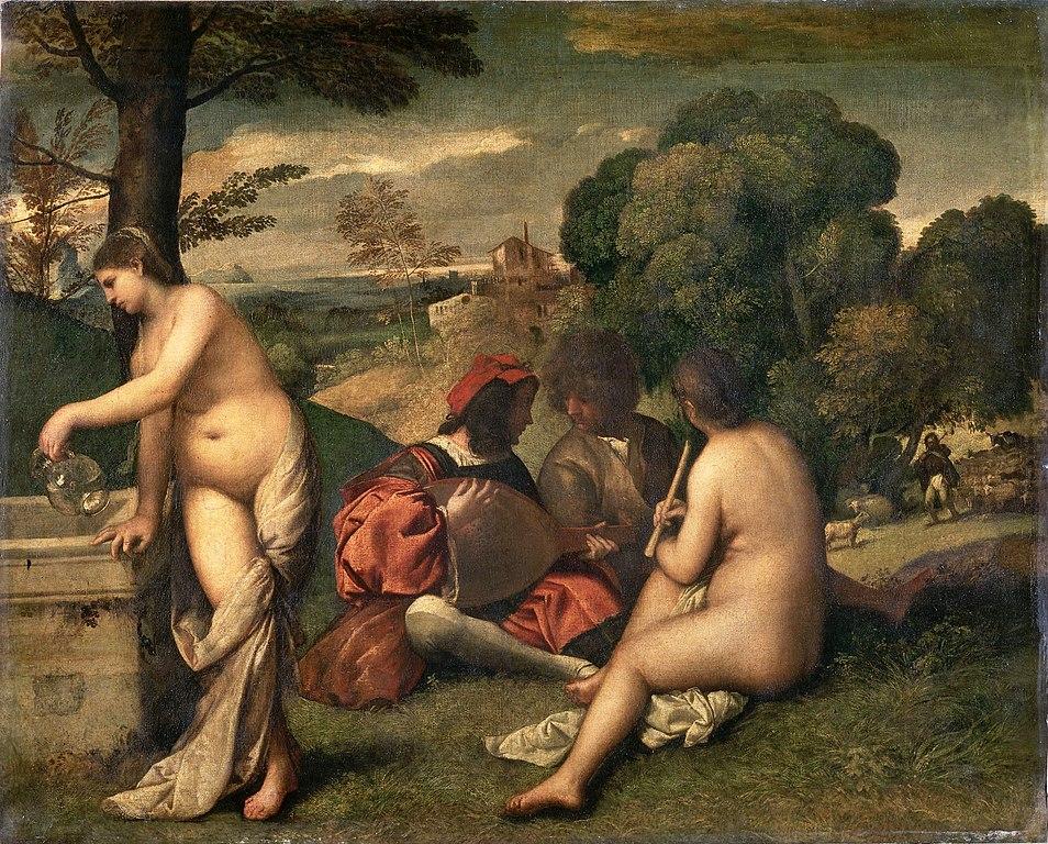 Giorgione o Tiziano, Concerto campestre (1510 circa; olio su tela, 118 x 138 cm; Parigi, Louvre)