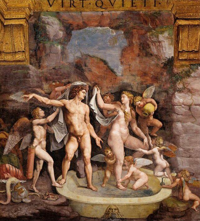 Giulio Romano, Il bagno di Venere e Marte (1526-1528 circa; affresco; Mantova, Palazzo Te)