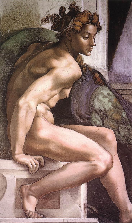 Uno degli ignudi di Michelangelo nella Cappella Sistina