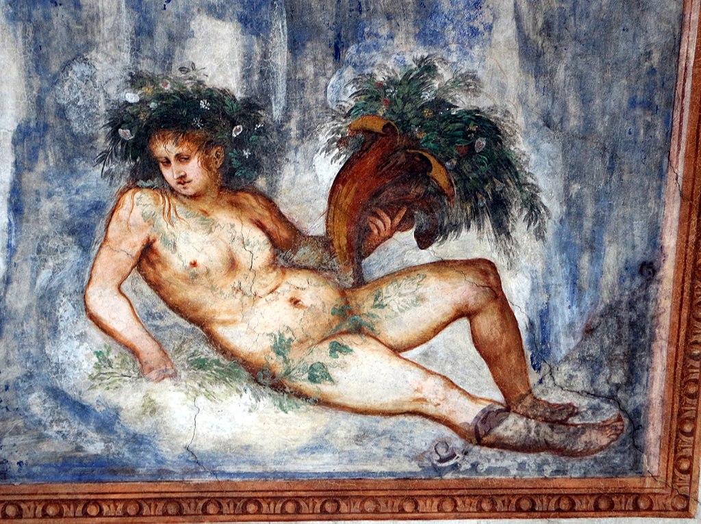 Loggia del Romanino, dettaglio: allegoria della Primavera. Ph. Credit Francesco Bini