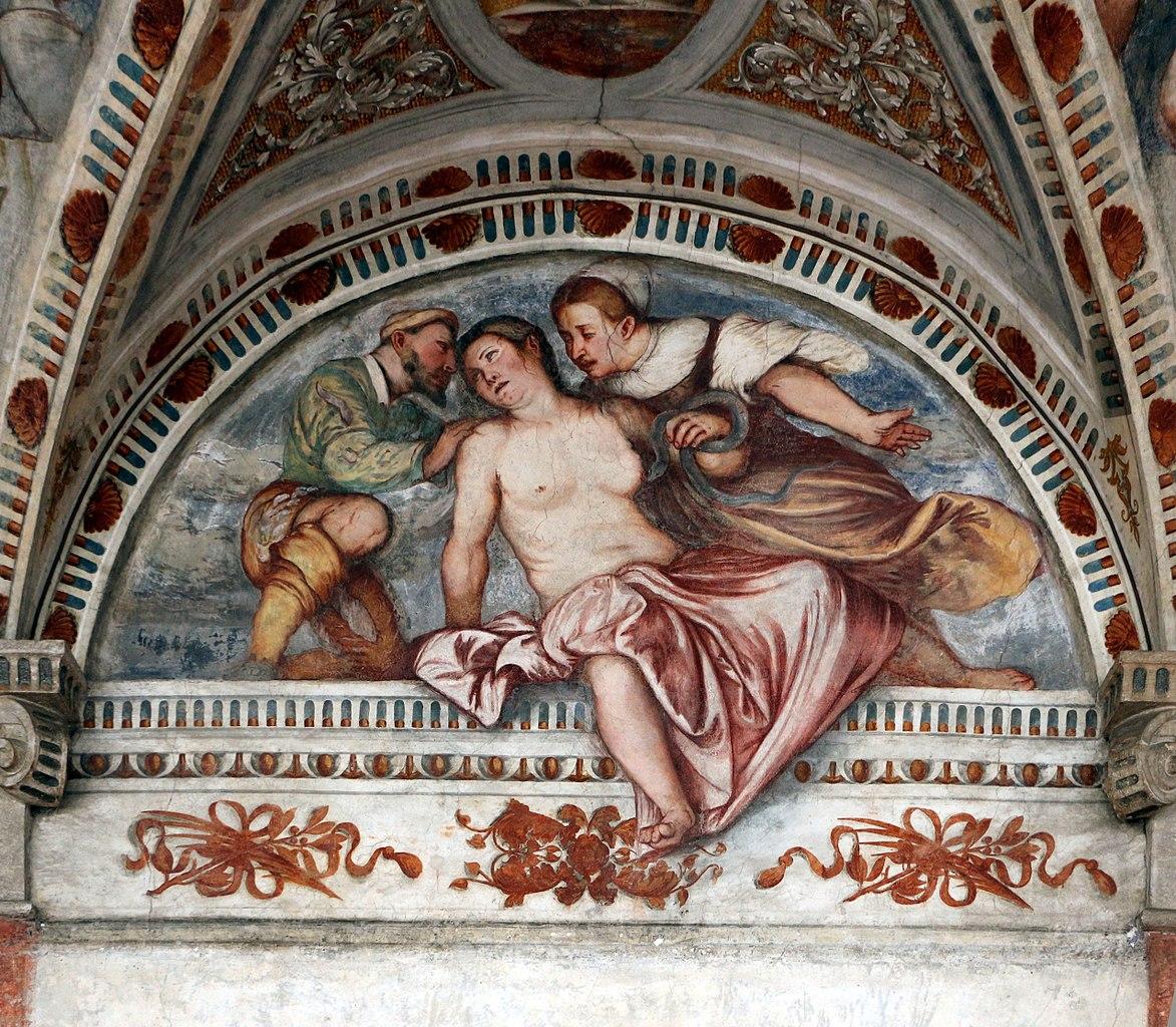 Loggia del Romanino, dettaglio: suicidio di Cleopatra. Ph. Credit Francesco Bini
