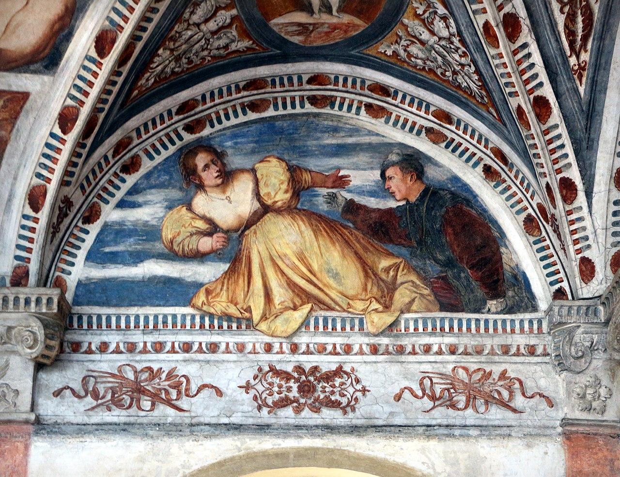 Loggia del Romanino, dettaglio: suicidio di Lucrezia. Ph. Credit Francesco Bini