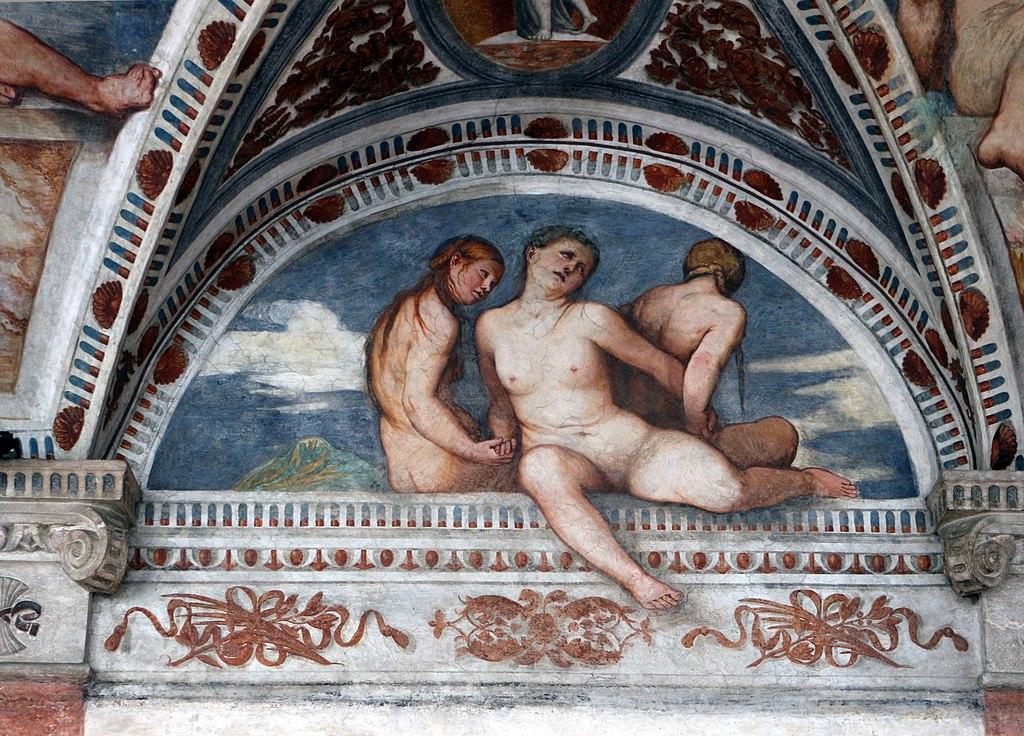 Loggia del Romanino, dettaglio: le tre Grazie. Ph. Credit Francesco Bini