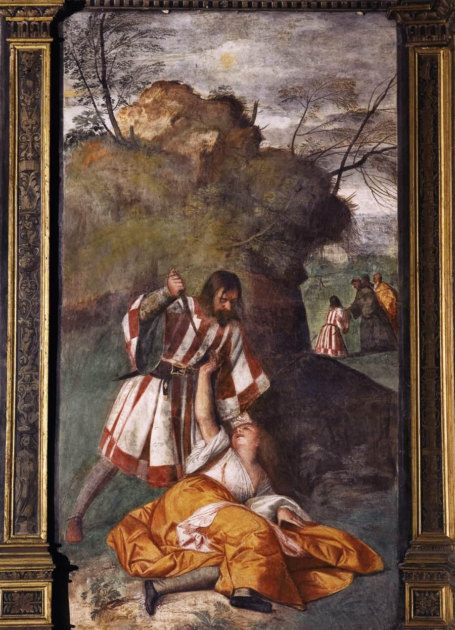 Tiziano, Miracolo del marito geloso (1511; affresco, 340 x 207 cm; Padova, Scuola del Santo)