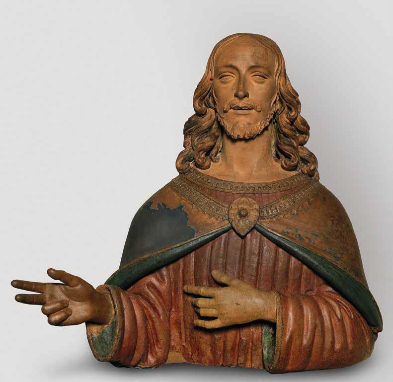 Agnolo di Polo de' Vetri, Cristo salvatore (1498; terracotta dipinta, 72 x 74,5 x 42 cm con la mano destra, rifatta in legno, 72 x 63,5 x 31,5 cm senza la mano destra; Pistoia, Museo Civico, inv. 1975, 5)