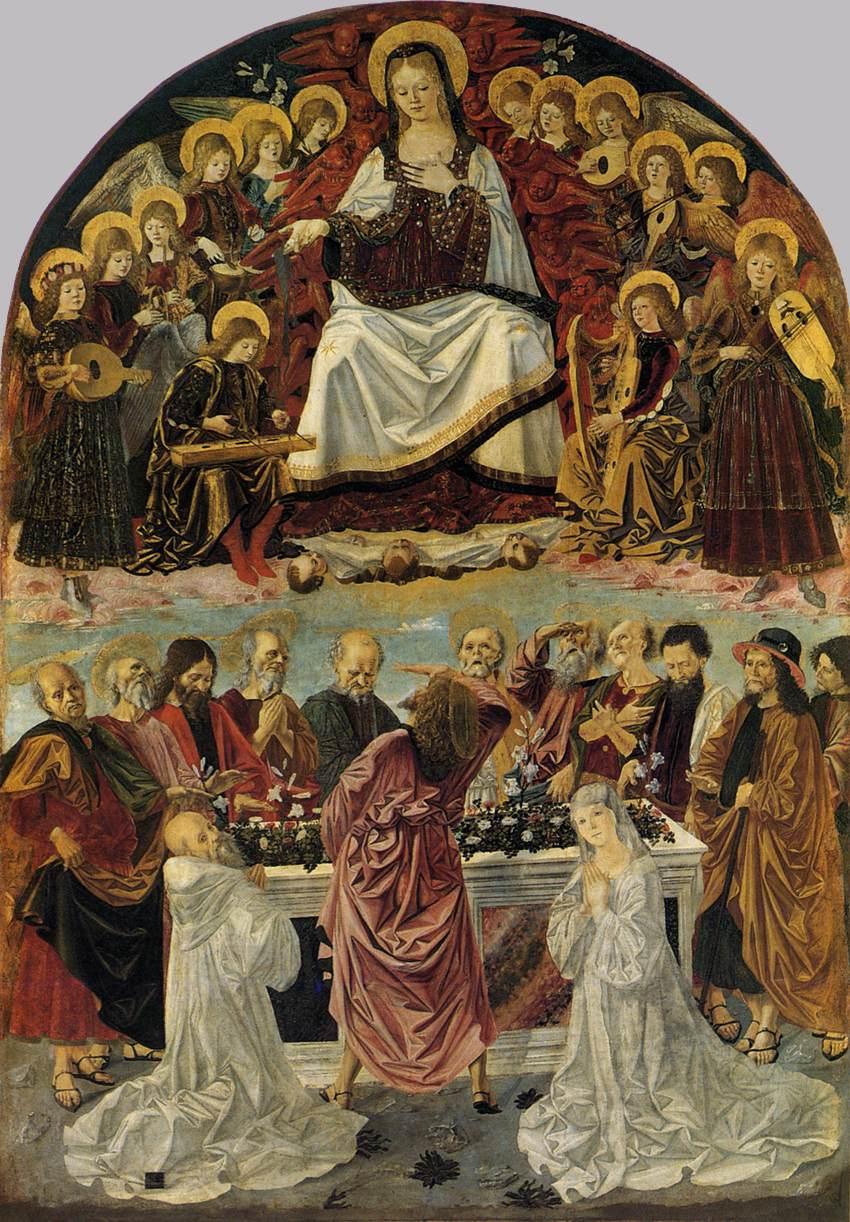 Bartolomeo della Gatta, Assunzione della Vergine con san Benedetto e santa Scolastica (1473 circa; tempera su tela, 317 x 222 cm; Cortona, Museo Diocesano di Cortona )