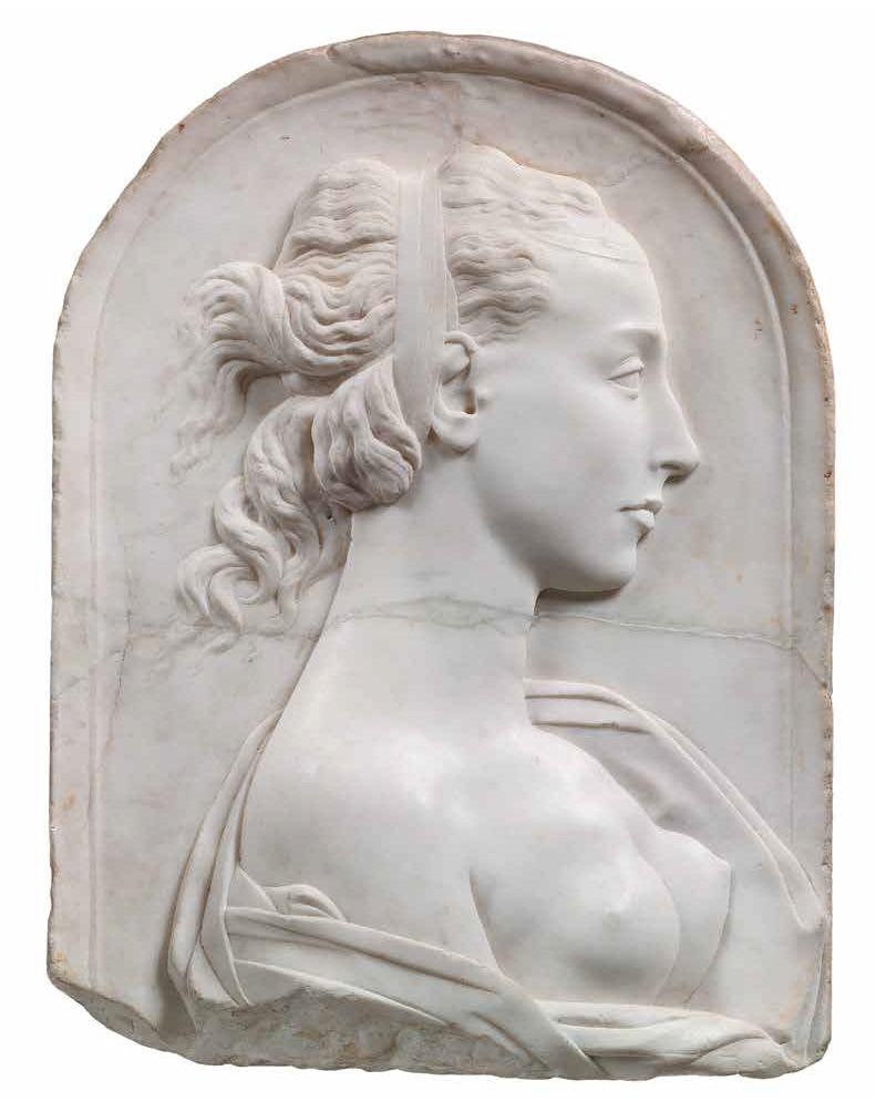 Bottega di Andrea del Verrocchio, Un'eroina antica (Olimpia o Cleopatra) (anni Sessanta-Settanta del Quattrocento; marmo, 47 x 34 x 10,30 cm; Londra, Victoria and Albert Museum, inv. 923-1900)
