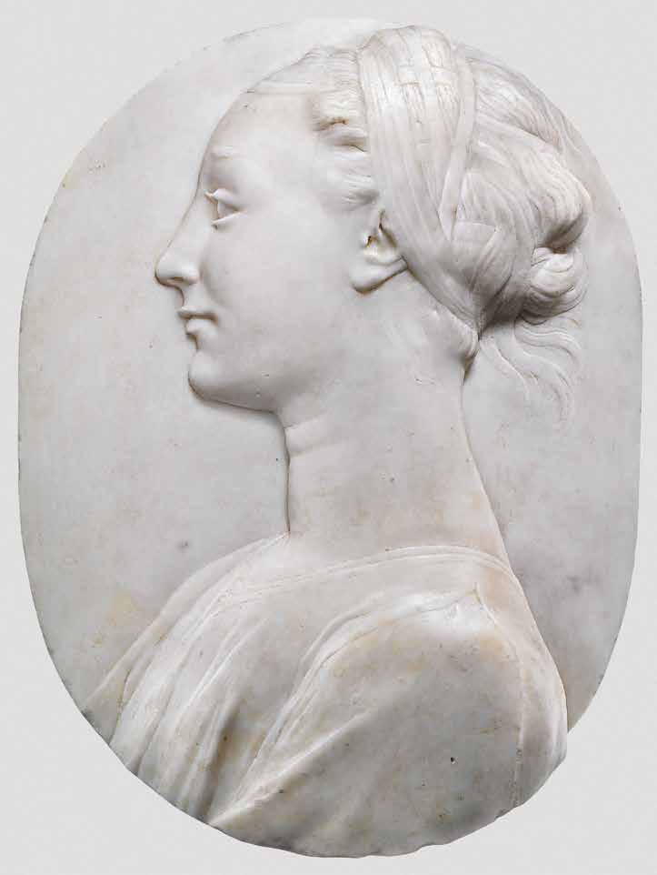 Desiderio da Settignano, Giovane gentildonna (1455-1460 circa; marmo, 39,5 x 29,8 x 9,7 cm; Inghilterra, Collezione privata)