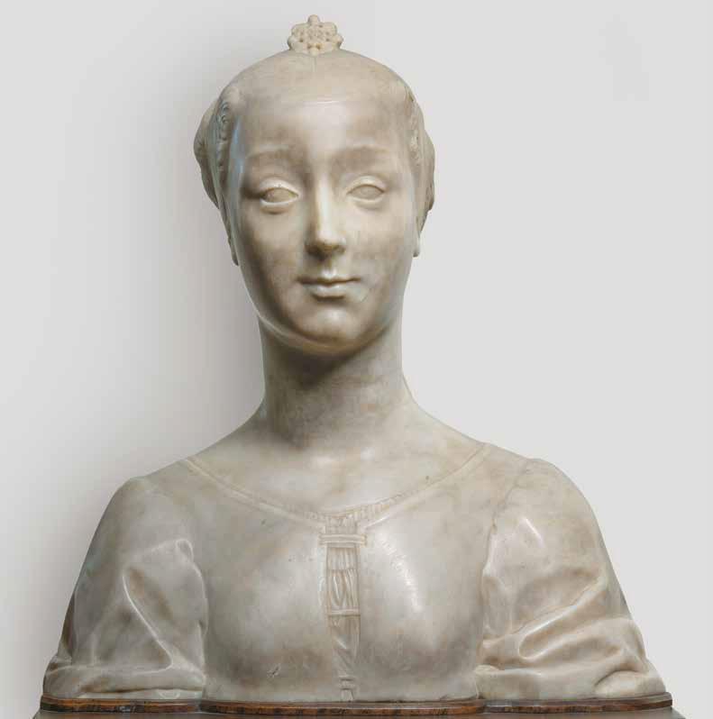 Desiderio da Settignano e bottega, Giovane gentildonna (1455-1460 circa; marmo, 47,5 x 43,5 x 22 cm; Firenze, Museo Nazionale del Bargello, inv. Sculture 62)