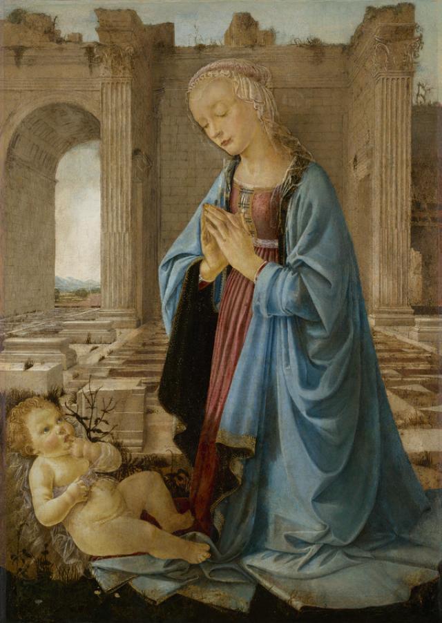 Domenico del Ghirlandaio, Madonna in adorazione del Bambino nota come Madonna Ruskin (1470 circa; tempera e olio su tela, trasportata da tavola, 106,7 x 76,3 cm; Edimburgo, National Galleries of Scotland, inv. NG 2338)