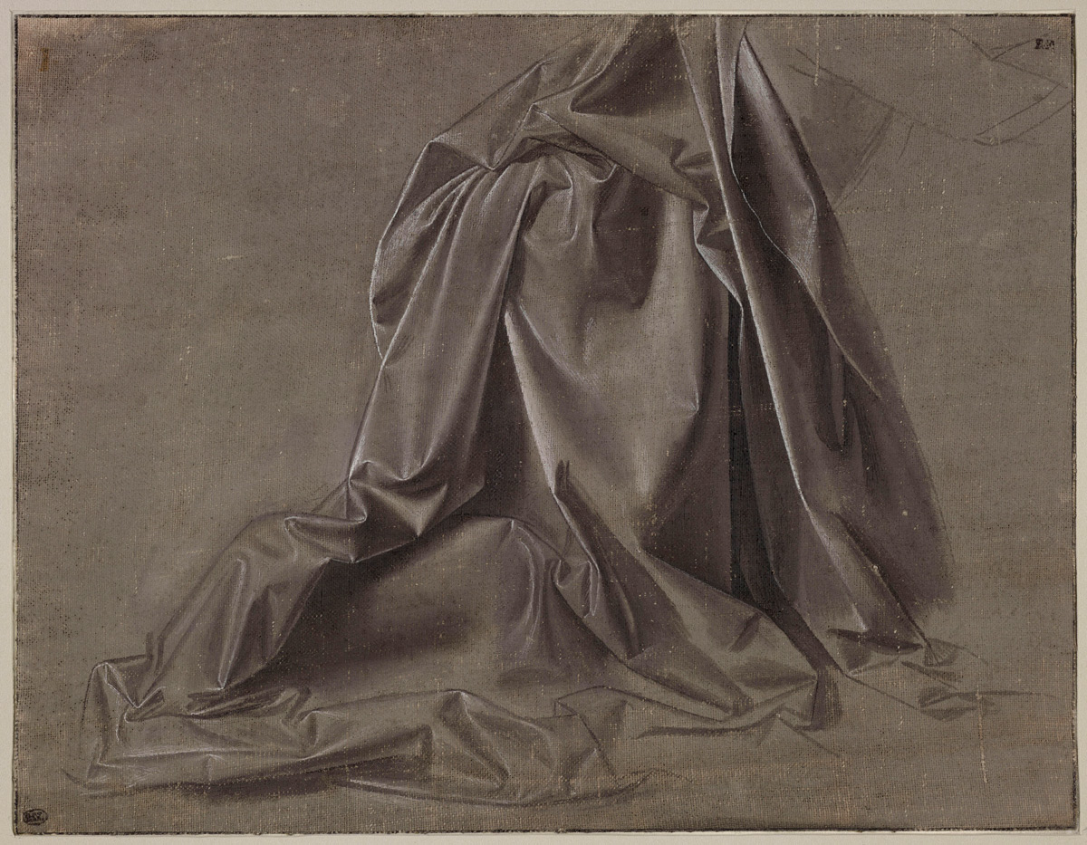 Leonardo da Vinci, Panneggio d'una figura inginocchiata, vista di profilo (1470-1475 circa; acquarellature marroni, tempera grigia e biacca su tela di lino preparata in colore grigio-bruno, 181 x 234. Parigi, Musée du Louvre, Département des Arts Graphiques, inv. 225)