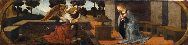 Lorenzo di Credi, Annunciazione (1476 circa; olio su tavola, 16,2 x 60,7 cm; Parigi, Musée du Louvre, Département des Peintures, inv. M.I. 59)