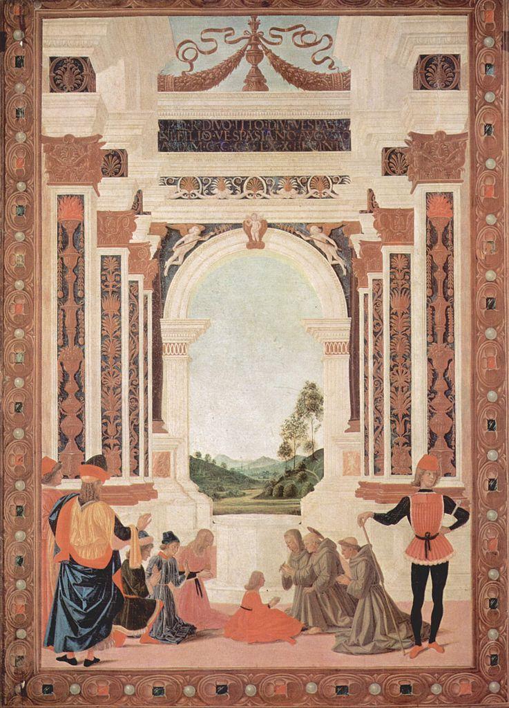 Pietro Perugino, San Bernardino risana da un'ulcera la figlia di Giovannantonio Petrazio da Rieti (1473; tempera su tavola, 79,1 x 56,9 cm; Perugia, Galleria Nazionale dell'Umbria, inv. 2)