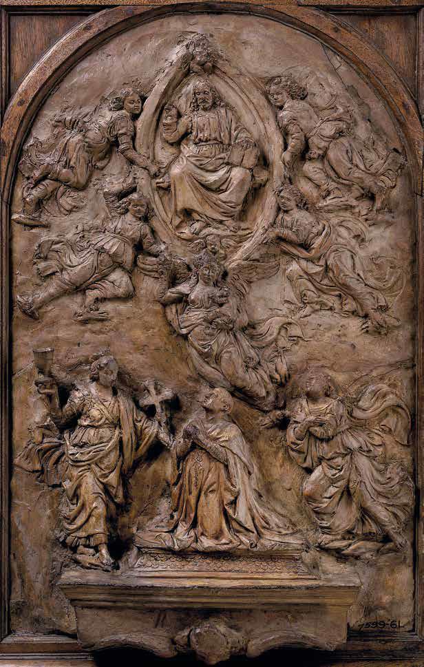 Andrea del Verrocchio, Modelletto per il cenotafio del cardinale Niccolò Forteguerri nella Cattedrale di Pistoia (1476 circa; terracotta, 44,6 x 31,8 x 8,5 cm; Londra, Victoria and Albert Museum, inv. 7599-186)