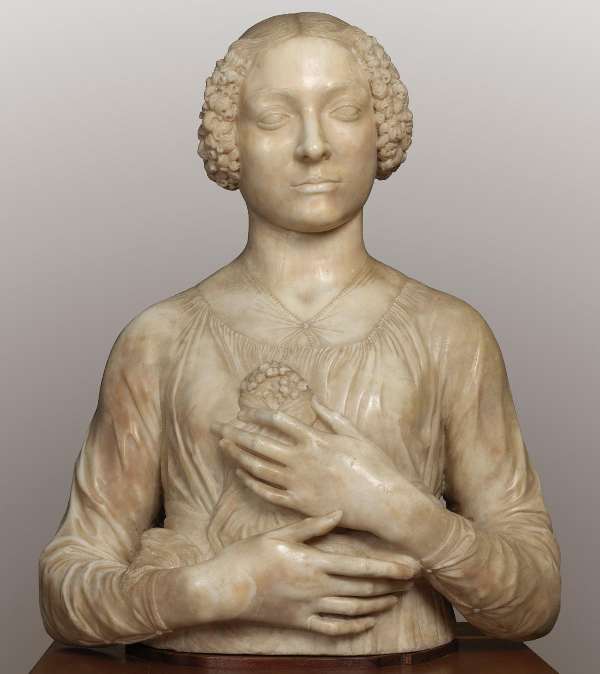 Andrea del Verrocchio, Dama dal mazzolino (1475 circa; marmo, 59 x 46 x 24 cm; Firenze, Museo Nazionale del Bargello, inv. Sculture 115)