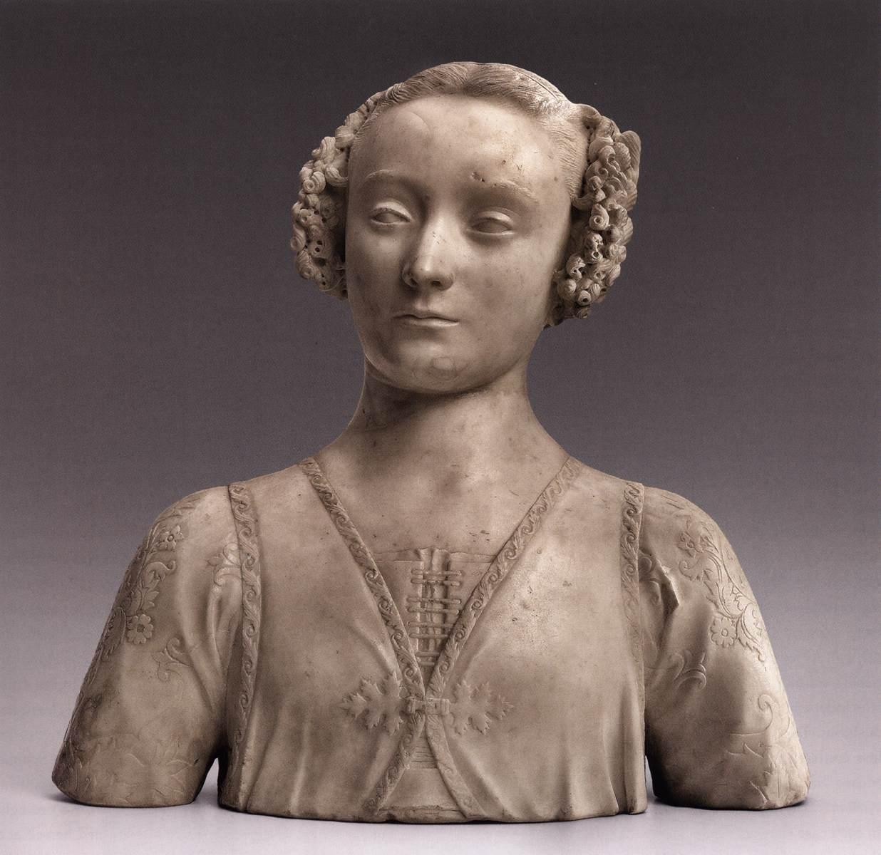 Andrea del Verrocchio, Giovane gentildonna (1465-1466 circa; marmo bianco, 47,3 x 48,7 x 23,8 cm; New York, The Frick Collection, inv. 1961.2.87)