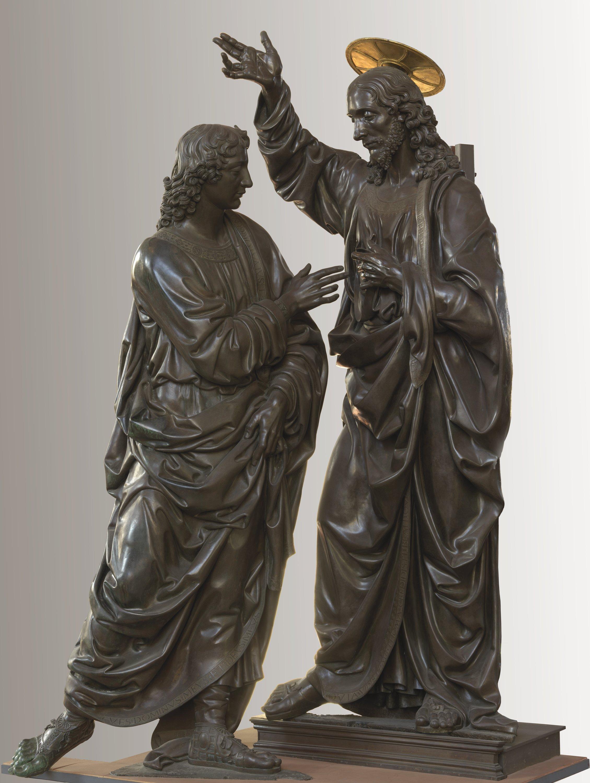 Andrea del Verrocchio, Incredulità di san Tommaso (1467-1483; bronzo con dorature, 241 x 140 x 105 cm; Firenze, Chiesa e Museo di Orsanmichele, dal tabernacolo dell'Università della Mercanzia)