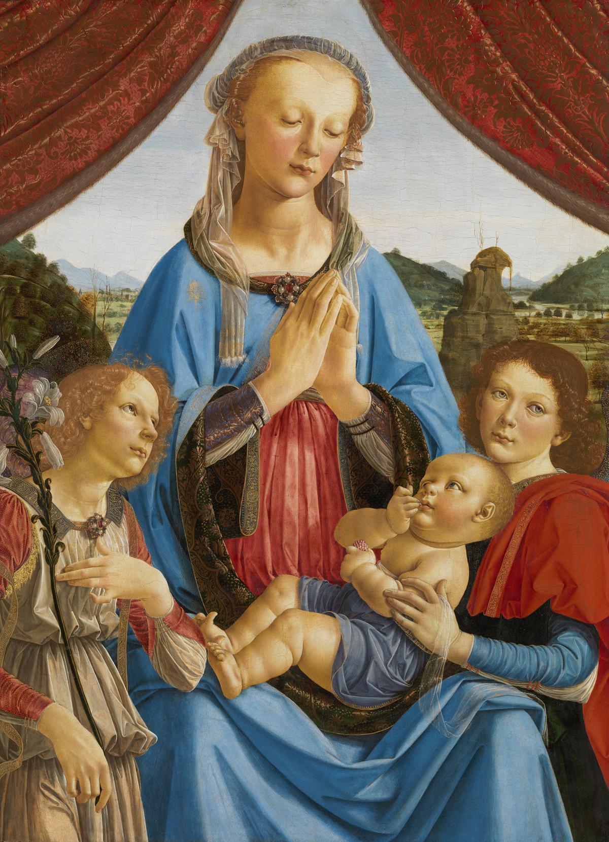Andrea del Verrocchio, Madonna col Bambino e due angeli (1471-1472 circa; tempera su tavola, 96,5 x 70,5 cm; Londra, The National Gallery, inv. NG296)