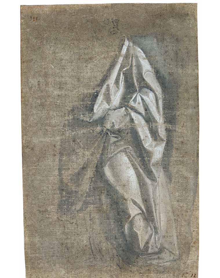 Andrea del Verrocchio, Panneggio di una figura barbuta in piedi, vista di tre quarti (1470-1475 circa; acquarellature grigio-brune, tempera grigia e biacca su tela di lino preparata in colore grigio-bruno, 315 x 203 cm; Rennes, Musée des Beaux-Arts de Rennes, inv. 794.1.2507)