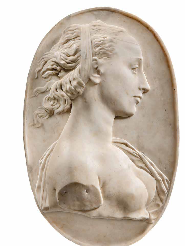 Andrea del Verrocchio, Un'eroina antica (Olimpia o Cleopatra) (1461-1464 circa; marmo, 46 x 31 x 6,5 cm; Milano, Museo d'Arte Antica, Castello Sforzesco, inv. 1092)