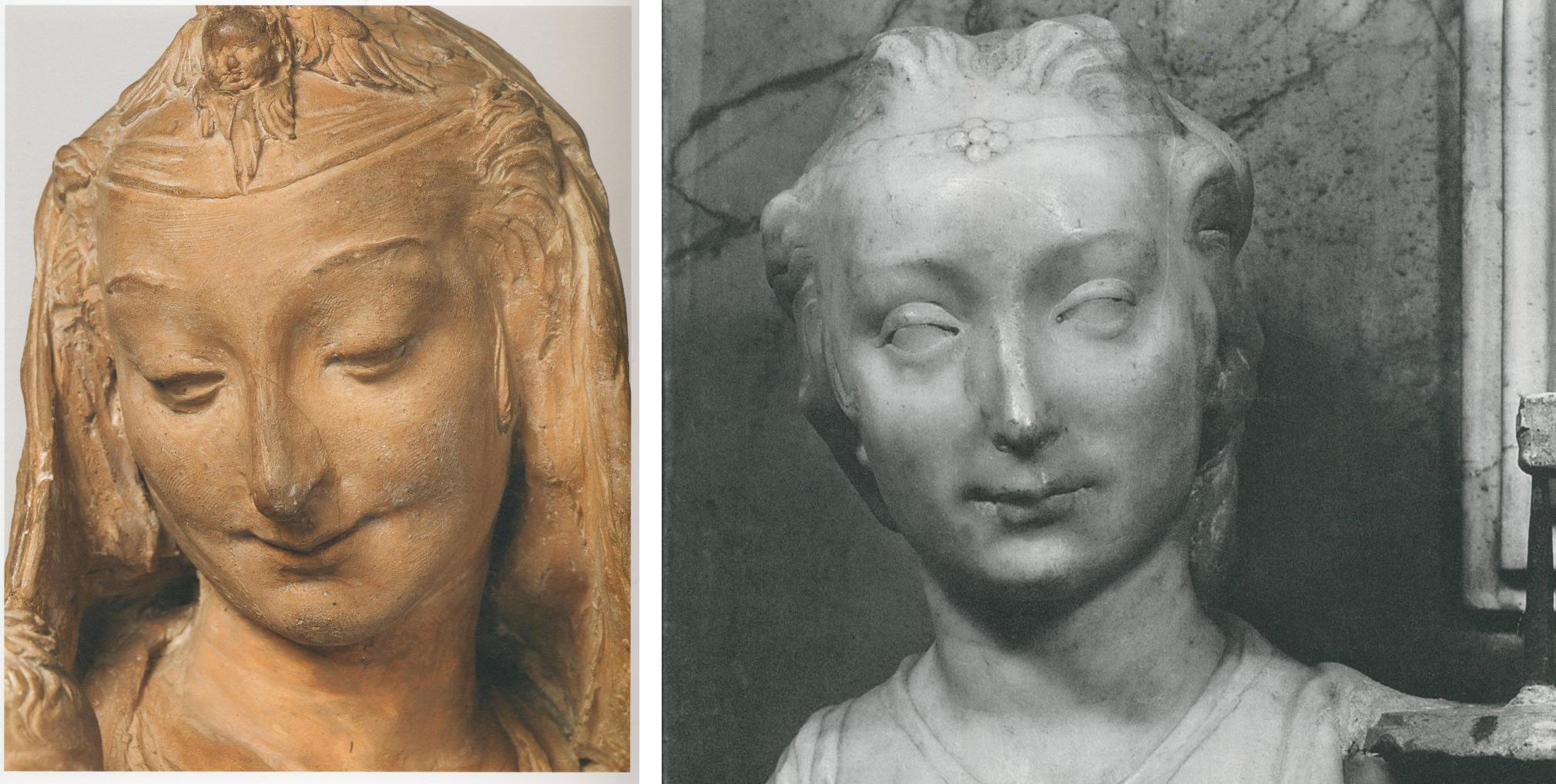A sinistra: Leonardo?, Madonna col Bambino, part. (Londra, Victoria and Albert Museum). A destra: Desiderio da Settignano, Altare del Sacramento, part. (Firenze, San Lorenzo)