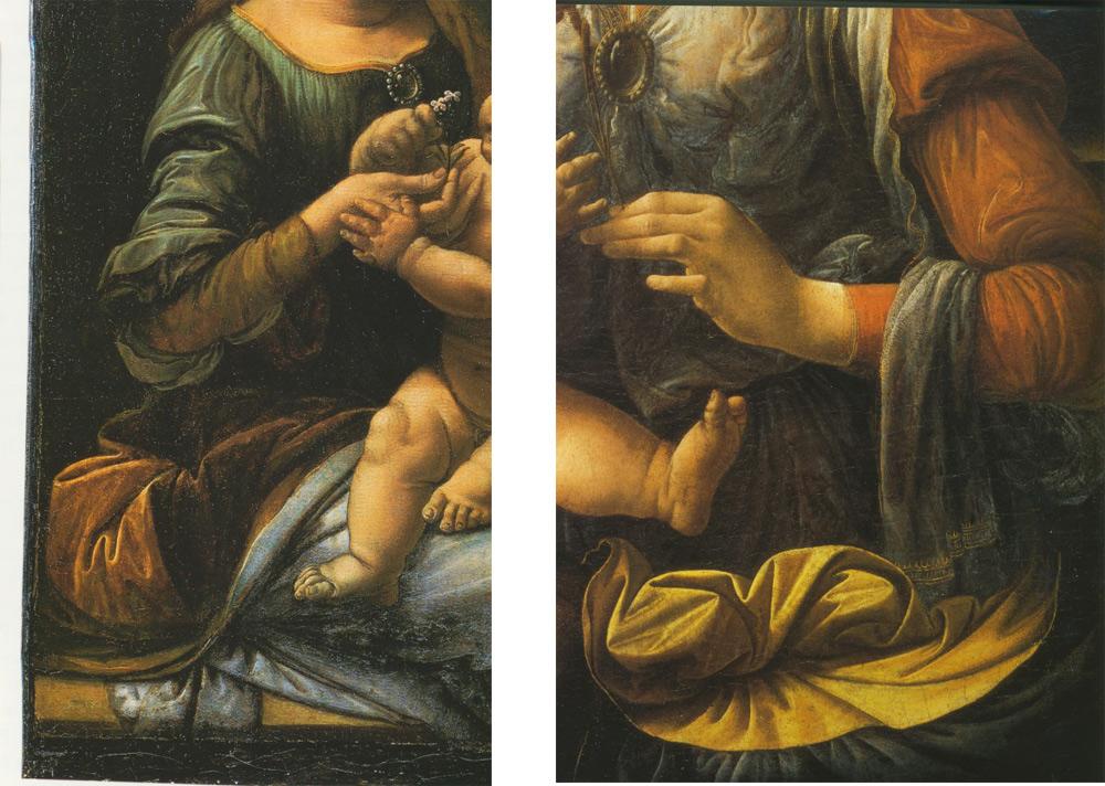 Leonardo, Particolari delle Madonne conservate a San Pietroburgo (Ermitage) e a Monaco (Alte Pinakothek)