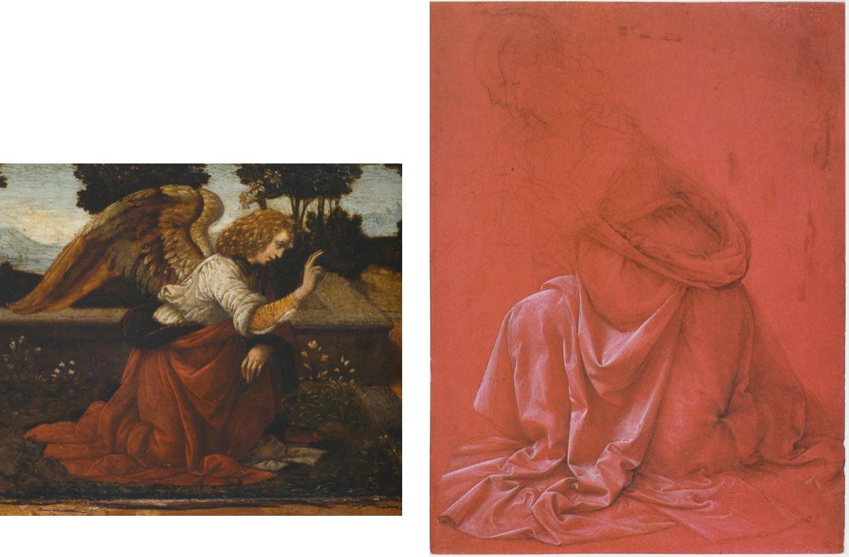 A sinistra: Leonardo e Lorenzo di Credi? Annunciazione, part. (Parigi, Louvre). A destra: Leonardo, Studio di drappeggio su figura inginocchiata (Roma, Gabinetto Nazionale delle Stampe, Fondo Corsini)