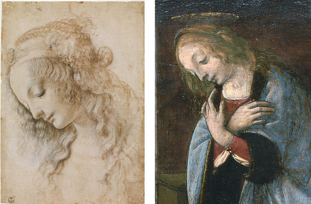 A sinistra: Leonardo, Studio di testa femminile (Firenze, Uffizi, Gabinetto Disegni e Stampe. A destra: Leonardo e Lorenzo di Credi?, Annunciazione, part. (Parigi, Louvre)