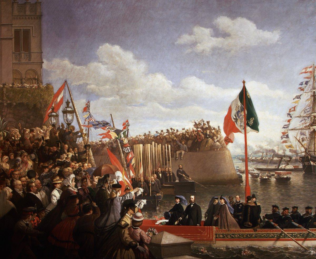 Cesare Dell'Acqua, Partenza di Massimiliano e Carlotta per il Messico (1866; olio su tela; Trieste, Museo Storico del castello di Miramare)