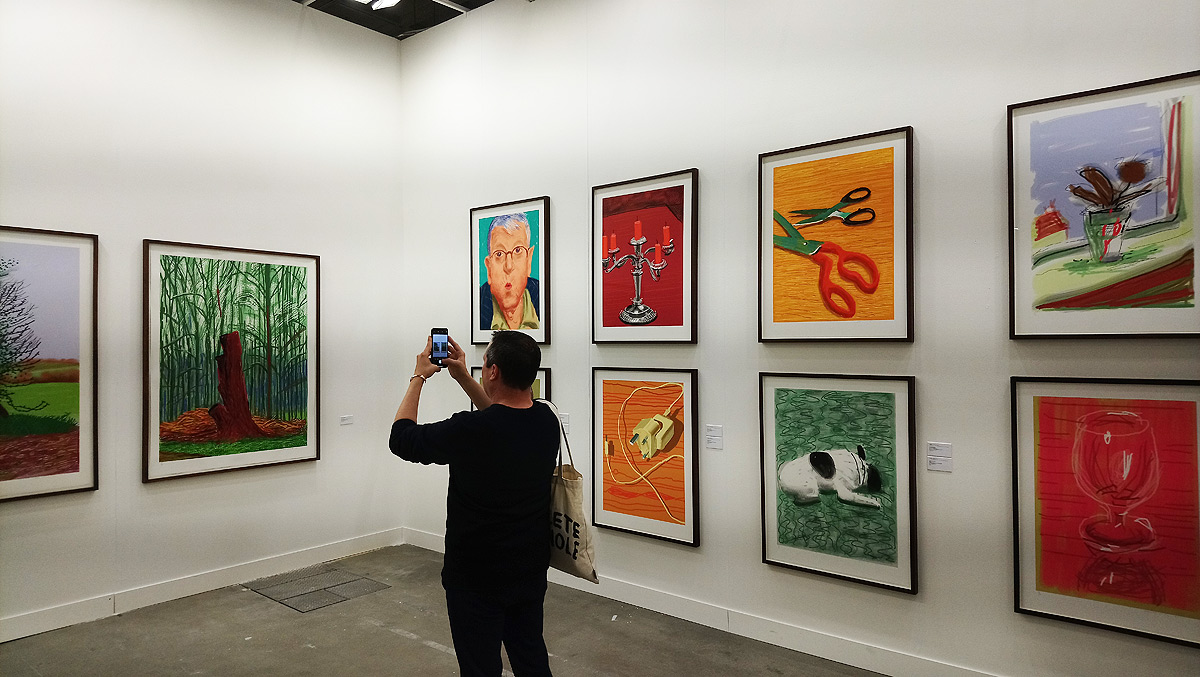 Le opere di Hockney allo stand di Lelong & Co.