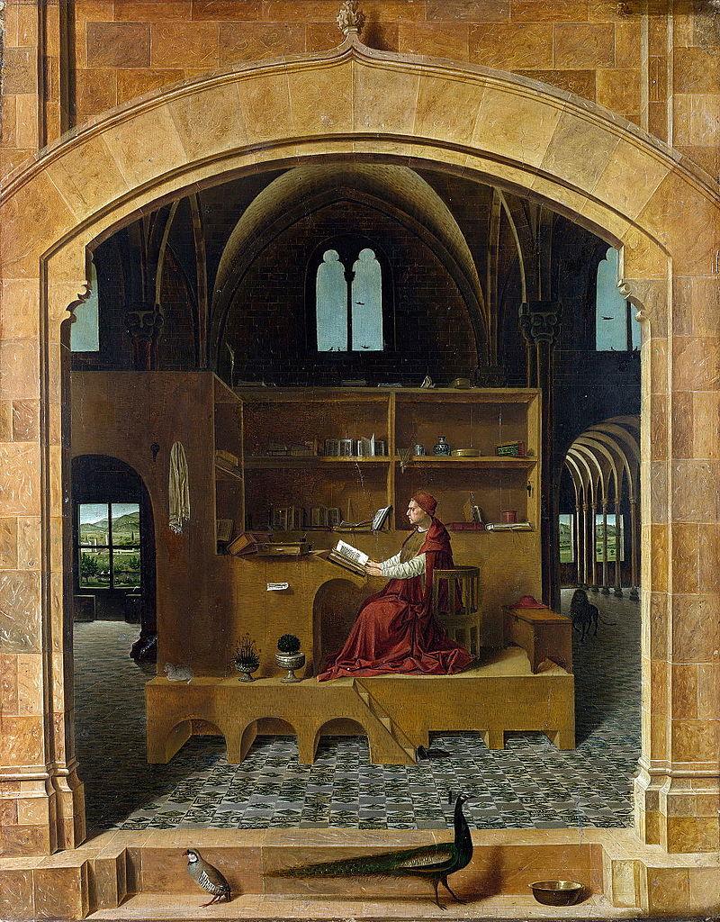 Antonello da Messina, San Girolamo nello studio (1474-1475 circa; olio su tavola, 45,7 x 36,2 cm; Londra, National Gallery)