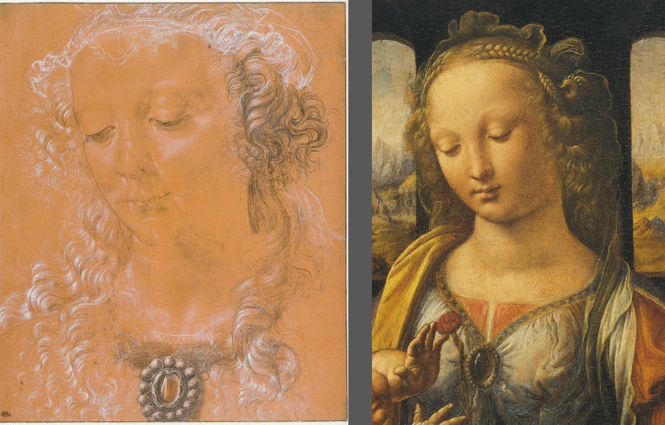 A sinistra: Attribuita al Verrocchio (Leonardo?), Testa femminile (Parigi, Louvre, Département des Arts Graphiques). A destra: Leonardo, Madonna col Bambino, parti colare (Monaco, Alte Pinakothek)