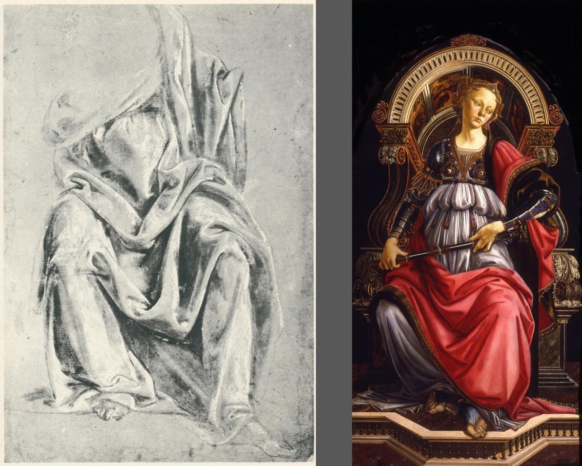 A sinistra: Verrocchio?, Studio di drappeggio su figura seduta (Virtù?) (Roma, Istituto Nazionale della Grafica). A destra: Sandro Botticelli, Fortezza (Firenze, Uffizi)