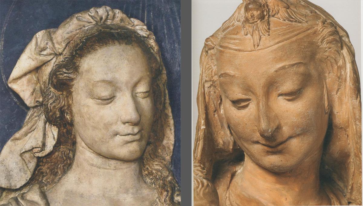 A sinistra: Verrocchio, Madonna col Bambino benedicente, particolare (Firenze, Museo del Bargello). A destra: Attribuita A Leonardo, Madonna col Bambino ridente, particolare (Londra, Victoria and Alberet Museum)