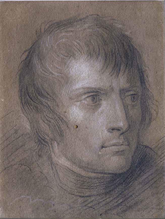Andrea Appiani, Ritratto di Napoleone (1801; matita nera e gessetto bianco su carta marroncina, 13 x 11 cm; Milano, Accademia di Belle Arti di Brera)