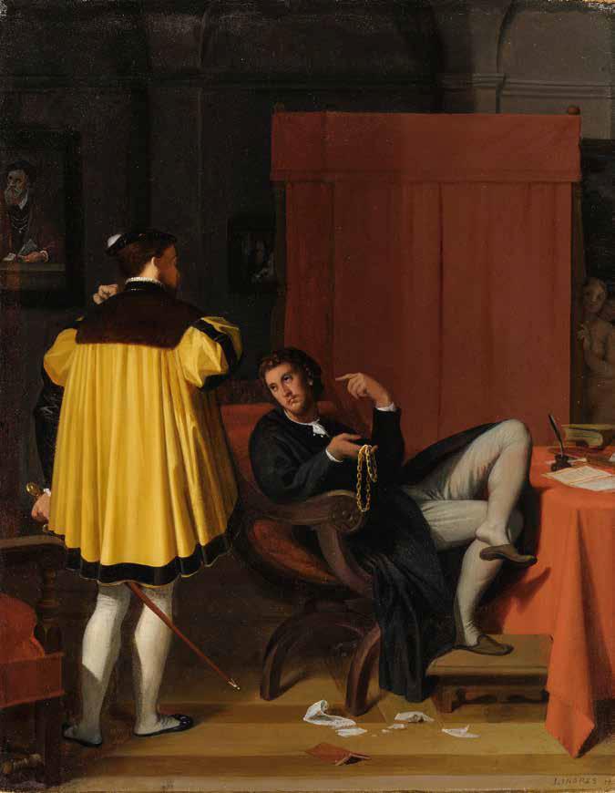 Jean-Auguste-Dominique Ingres, L'Aretino e il messaggero di Carlo V (1815; olio su tela, 41,5 x 32,5 cm; Lione, Musée des Beaux-Arts)