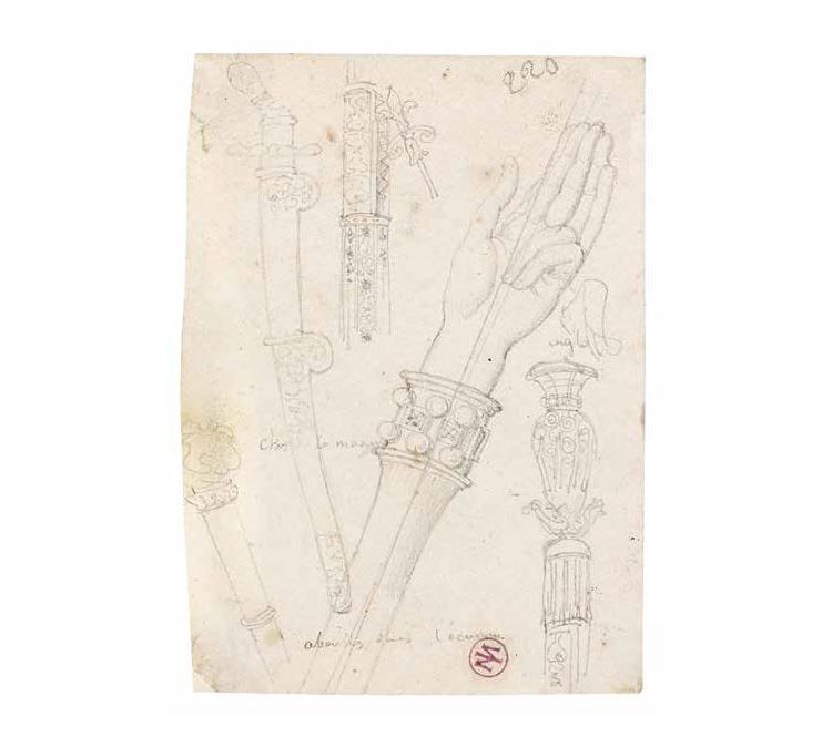 Jean-Auguste-Dominique Ingres, Oggetti per l'incoronazione (s.d.; grafite su carta, 12,1 x 8,8 cm; Montauban, Musée Ingres)