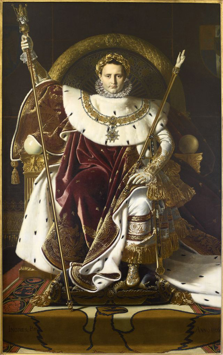 Jean-Auguste-Dominique Ingres, Napoleone I sul trono imperiale (1806; olio su tela, 263 x 163 cm; Parigi, Hôtel national des Invalides, Musée de l'Armée)