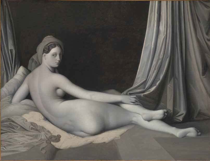 Jean-Auguste-Dominique Ingres, Grande odalisca, versione a grisaille (1830 circa; olio su tela, 83,2 x 109,2 cm; New York, The Metropolitan Museum of Art)