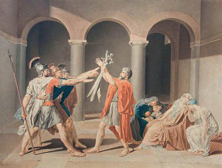 Anonimo, Il giuramento degli Orazi, da Jacques-Louis David (s.d.; acquerello, 40,8 x 53,7 cm; Montauban, Musée Ingres)