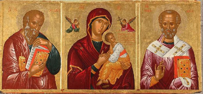 Andrea Rico da Candia, Madonna della Passione fra i santi Giovanni Teologo e Nicola (1451; Bari, Basilica di San Nicola)