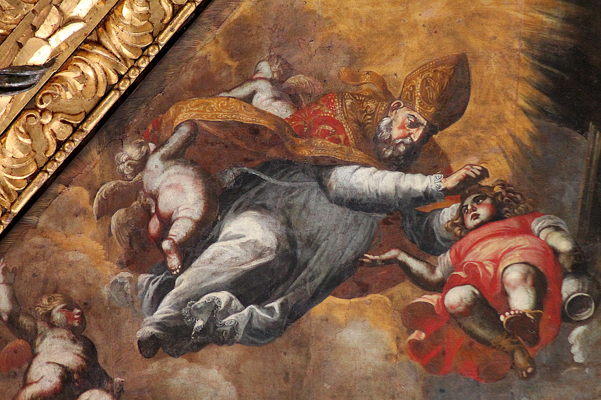 Carlo Rosa, san Nicola libera Adeodato, particolare (1661-1668; Bari, basilica di San Nicola, soffitto)