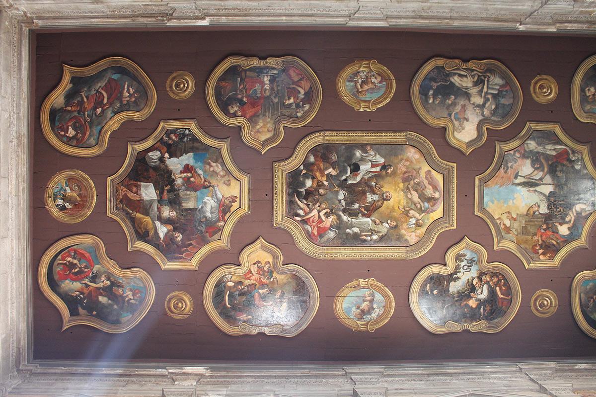 Carlo Rosa, Storie della vita di san Nicola (1665; Bitonto, chiesa di San Gaetano, soffitto, veduta di insieme)