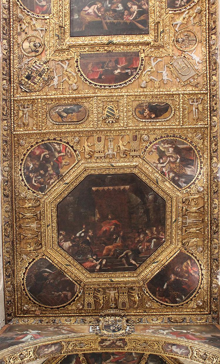 Carlo Rosa, Storie della vita di san Nicola e della Vergine (1661-1668; Bari, basilica di San Nicola, soffitto, veduta di insieme)