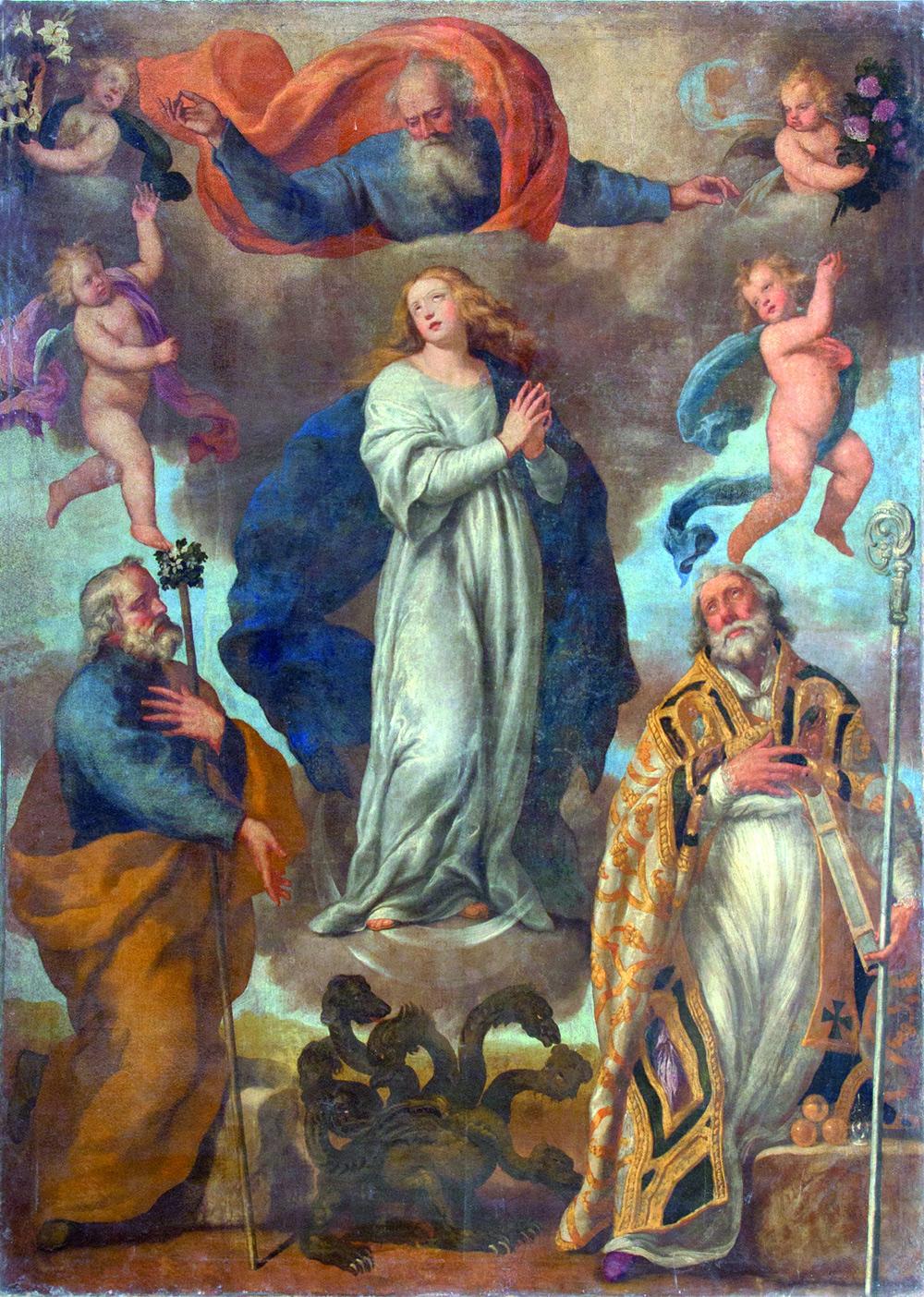 Cesare Fracanzano, Vergine Immacolata tra i santi Giuseppe e Nicola di Bari (1639; olio su tela, 1639; Barletta, chiesa di Sant'Antonio)